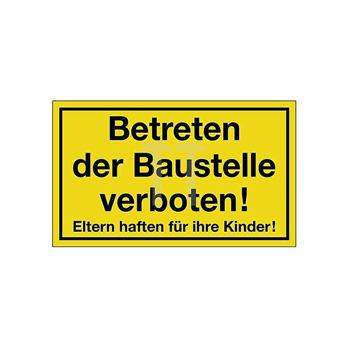 Schild Betreten der Baustelle B.250xH.150mm Kunststoff gelb/schwarz