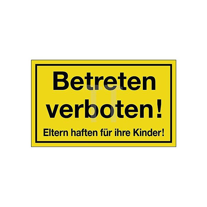 Schild Betreten verboten B.300xH.200mm Kunststoff gelb/schwarz