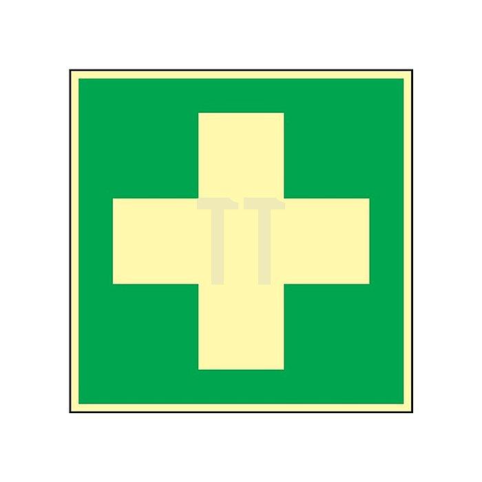 Schild Erste Hilfe 148x148mm Kunststoff grün/weiss nachleuchtend