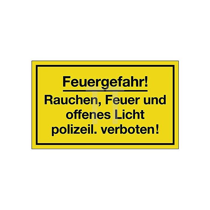 Schild Feuergefahr B.250xH.150mm Kunststoff gelb/schwarz