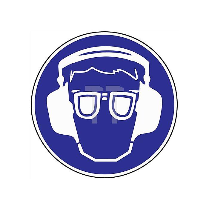 Schild Gehör-/Augenschutz benutzen D.200mm Kunststoff blau/weiss