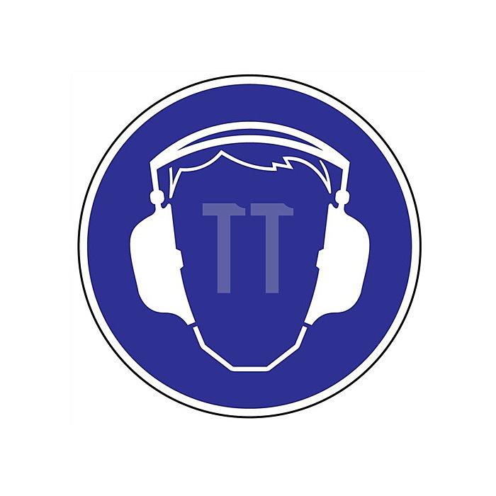 Schild Gehörschutz benutzen D.200mm Kunststoff blau/weiss