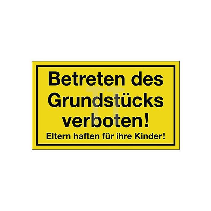 Schild Grundstück betreten verboten B.250xH.150mm Kunststoff gelb/schwarz
