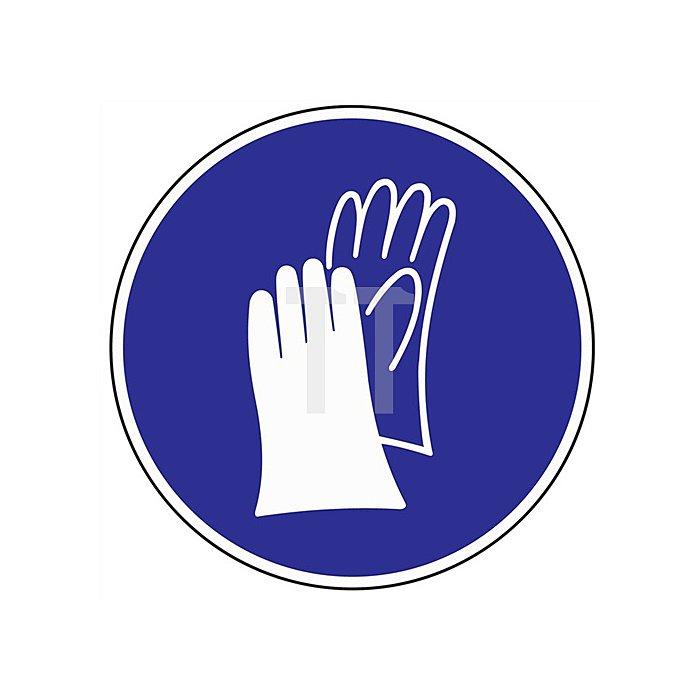 Schild Handschutz benutzen D.200mm Kunststoff blau/weiss