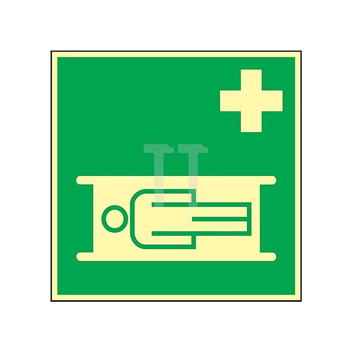 Schild Krankentrage 148x148mm Kunststoff grün/weiss nachleuchtend