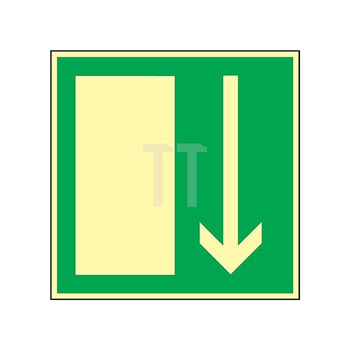 Schild Notausgang 148x148mm Kunststoff grün/weiss nachleuchtend