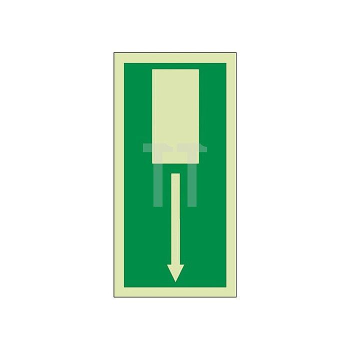 Schild Notausgang 297x148mm Hochformat Kunststoff grün/weiss nachleuchtend