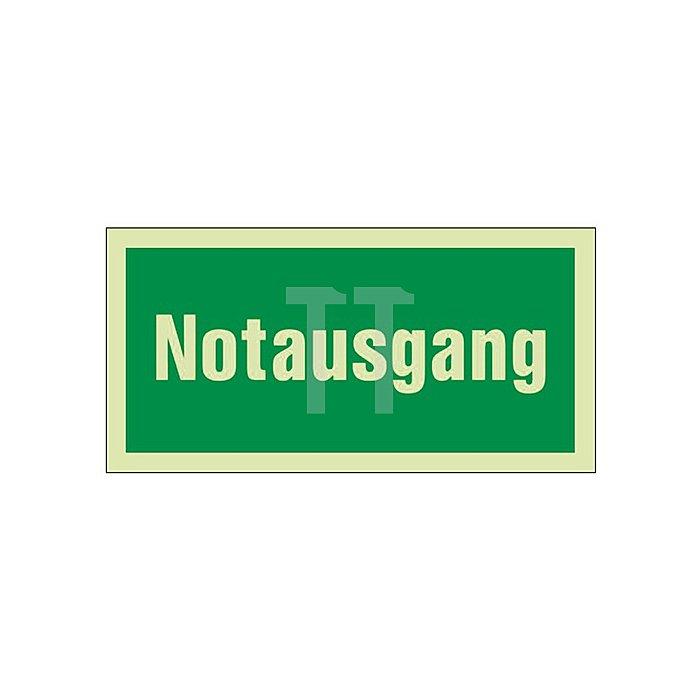 Schild Notausgang B.297xH.148mm Kunststoff grün/weiss nachleuchtend