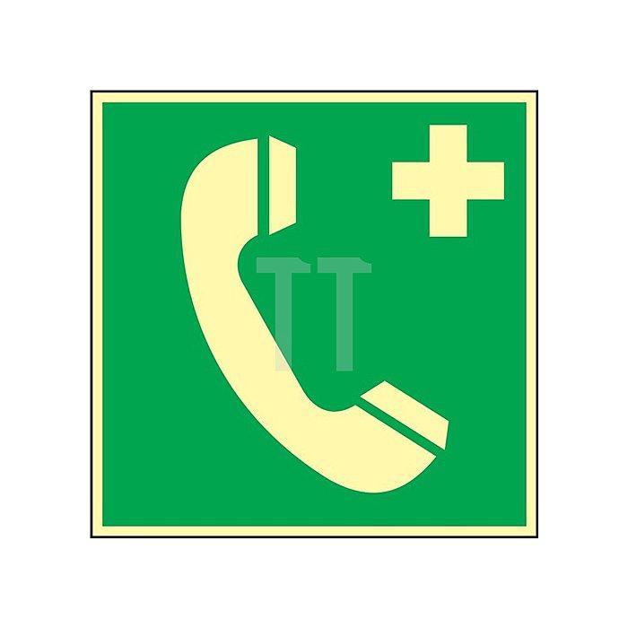 Schild Nottelefon 148x148mm Kunststoff grün/weiss nachleuchtend