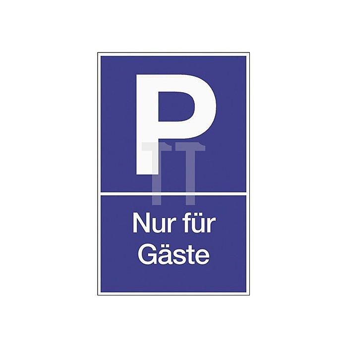 Schild Parken für Gäste B.250xH.400mm Kunststoff blau/weiss