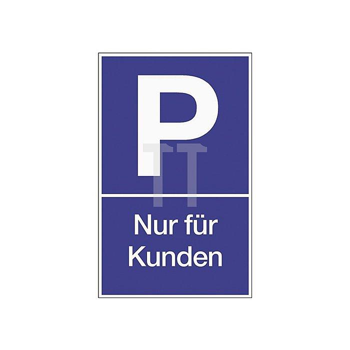 Schild Parken für Kunden B.250xH.400mm Kunststoff blau/weiss