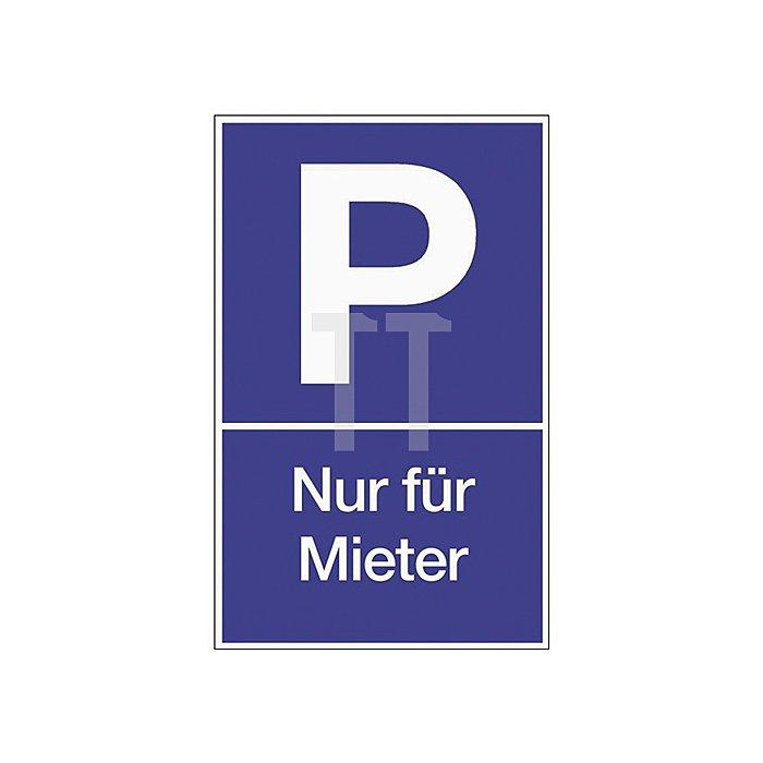 Schild Parken für Mieter B.250xH.400mm Kunststoff blau/weiss