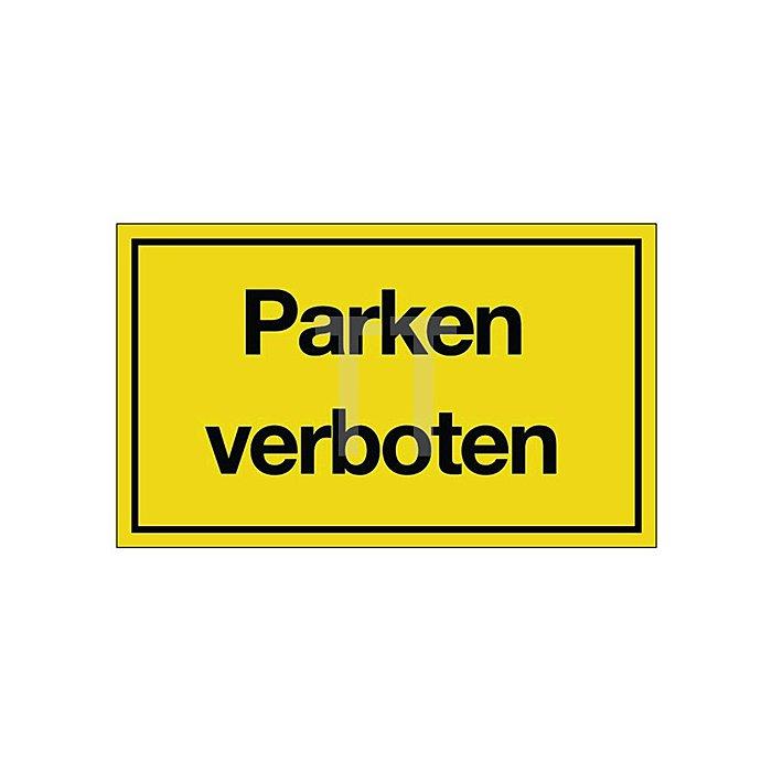 Schild Parken verboten B.250xH.150mm Kunststoff gelb/schwarz