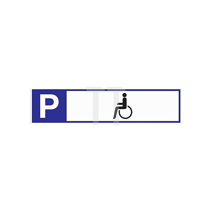 Schild Parkplatz für Behinderte 460x110x2mm Aluminium weiss/blau/schwarz