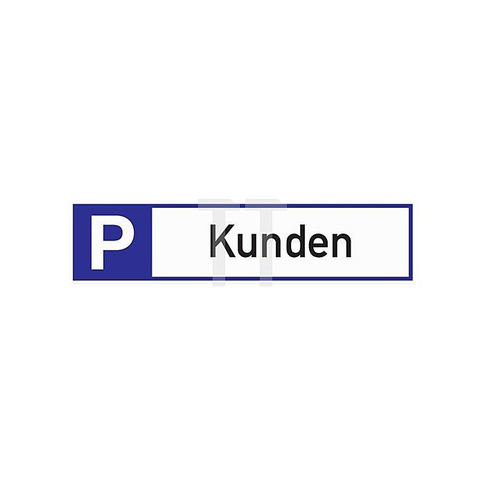 Schild Parkplatz für Kunden 460x110x2mm Aluminium weiss/blau/schwarz