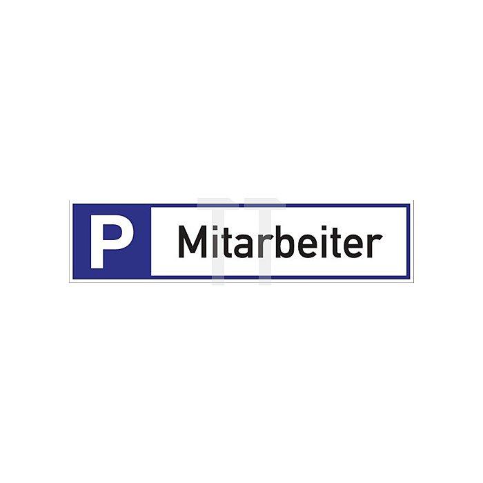 Schild Parkplatz für Mitarbeiter 460x110x2mm Alu.weiss/blau/schwarz