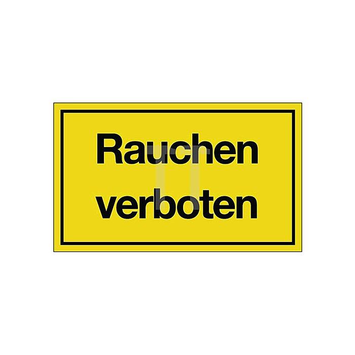 Schild Rauchen verboten B.250xH.150mm Kunststoff gelb/schwarz