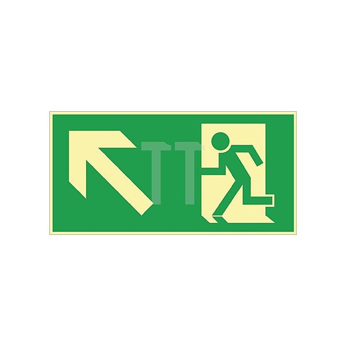 Schild Rettungsweg links aufwärts 297x148mm Kunststoff grün/weiss nachleuchtend