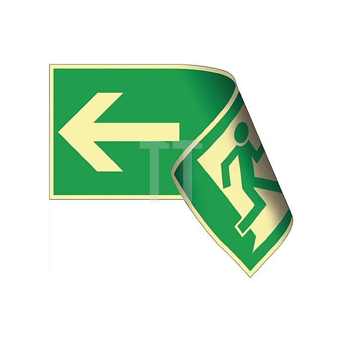 Schild Rettungsweg li./re. 297x148mm Ku.grün/weiss doppelseitig nachleuchtend