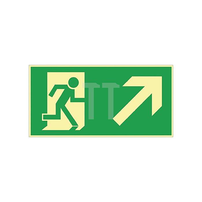 Schild Rettungsweg re. aufwärts 297x148mm Kunststoff grün/weiss nachleuchtend