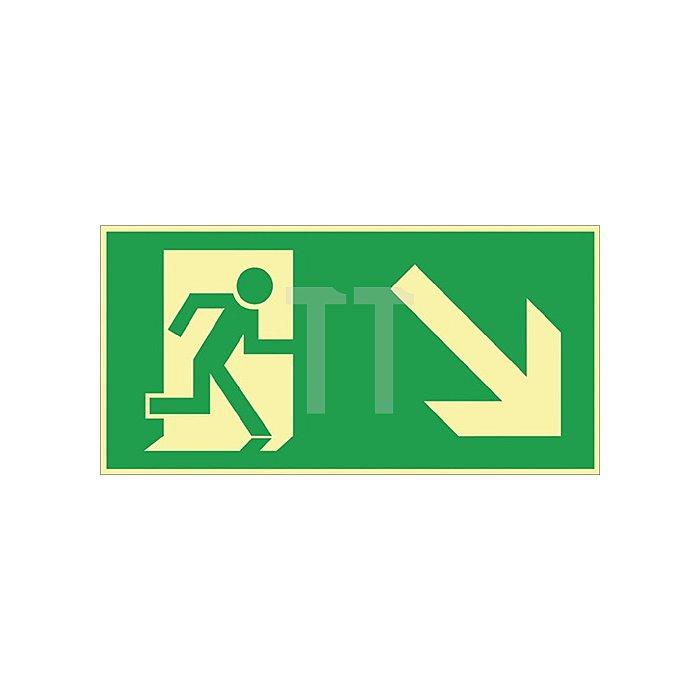Schild Rettungsweg rechts abwärts 297x148mm Kunststoff grün/weiss nachleuchtend
