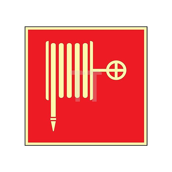 Schild Wandhydrant-Löschschlauch 148x148mm Kunststoff rot/weiss nachleuchtend