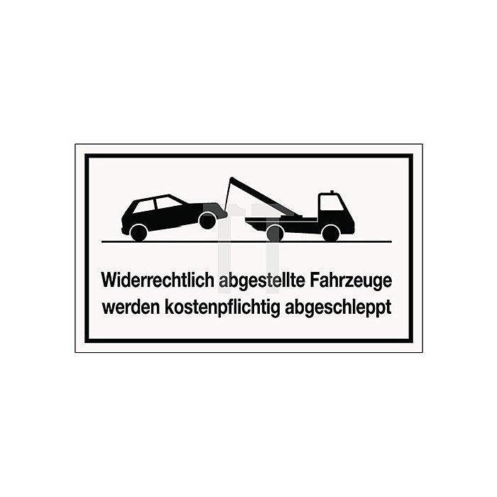 Schild widerrecht.Parken B.250xH.150mm Kunststoff weiss/schwarz