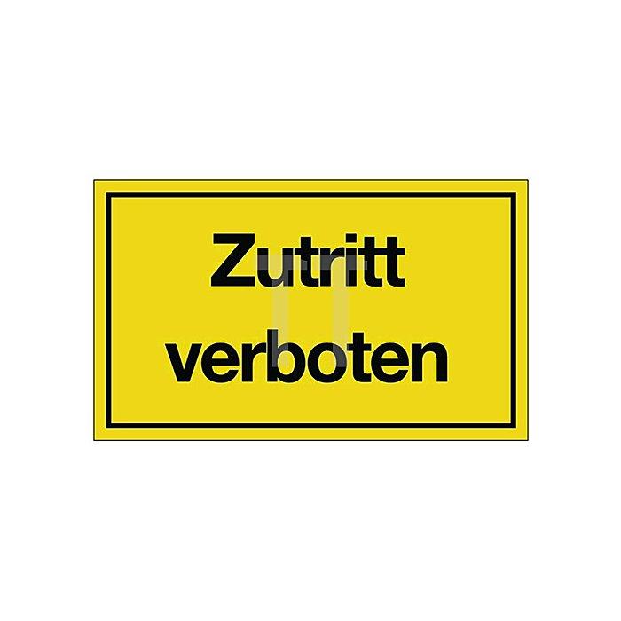 Schild Zutritt verboten B.250xH.150mm Kunststoff gelb/schwarz