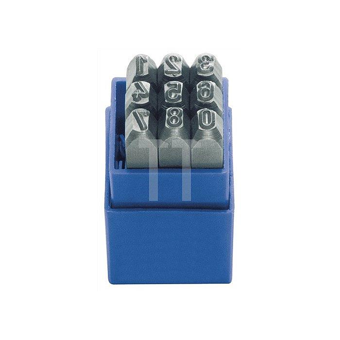 Schlagzahlen-/Buchstabensatz 9tlg.Schrift-H.10mm 0-9 Gravur 58-60HRc i.Ku.-Box