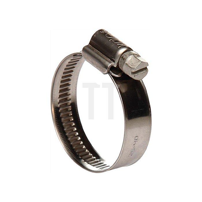 Schlauchschelle 9mm 30-45 W4 Edelstahl DIN 3017 leichte Ausführung