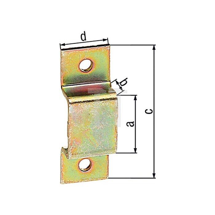 Schlaufe 15x7x38x13mm Stahl roh galv. gelb verz. GAH
