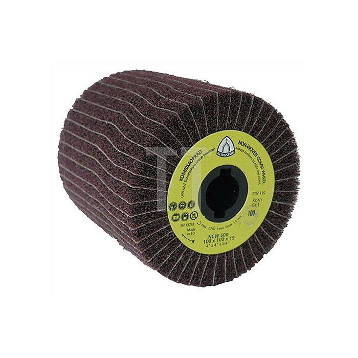 Schleifmoprad NCW 600 100 x 100 x 19mm, Korn 180 Schleifvlies und Schleifgeweb