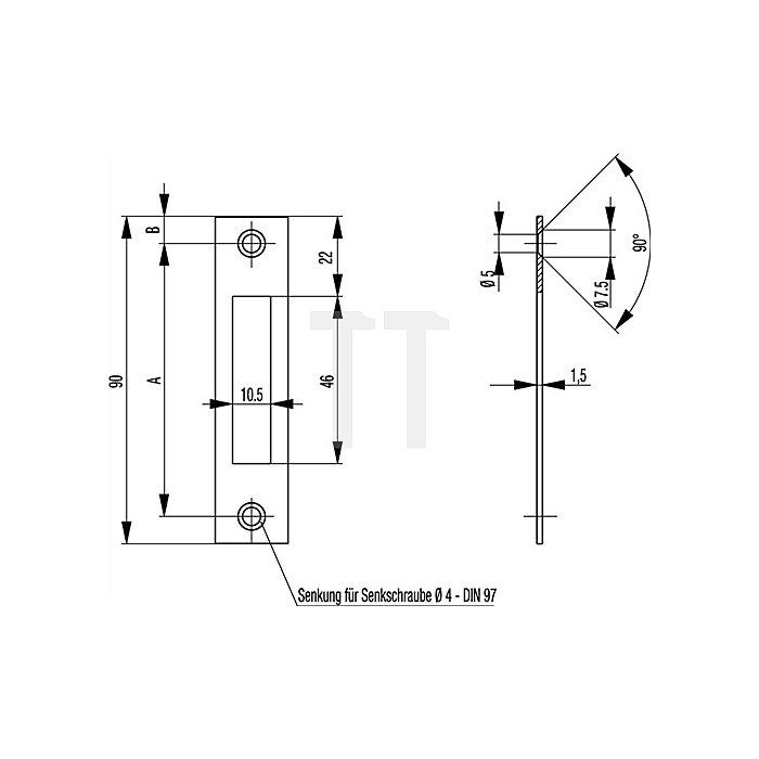 Schließblech Flachschließblech Stulp 20mm abgerundet Stahl NiSi 90mm