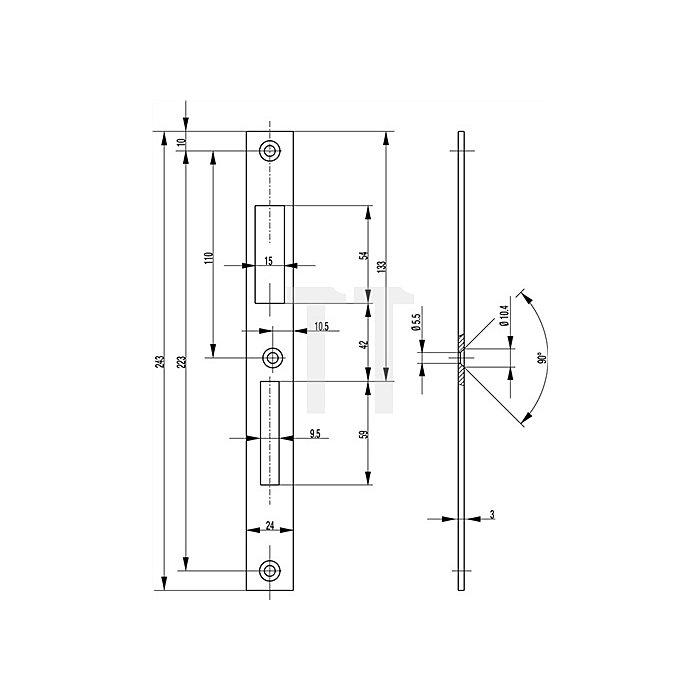 Schließblech f.Rohrrahmenschloss Entf.72mm L.243mm Stahl NiSi