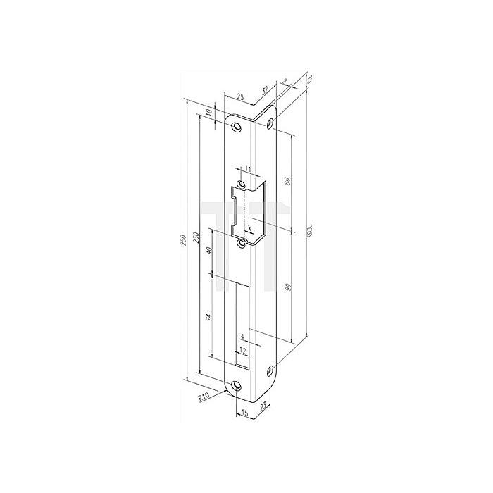 Schließblech IW S-547 R-10 EST DIN rechts für Elektro-Türöffner EST