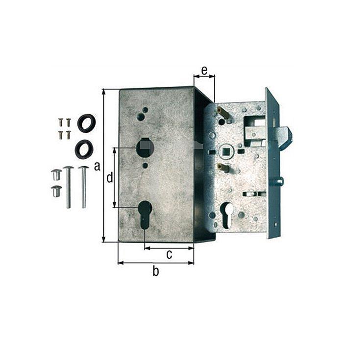 Schlosskasten m. verzinktem Schloss 173x95x60x72x40mm Kasten Stahl roh