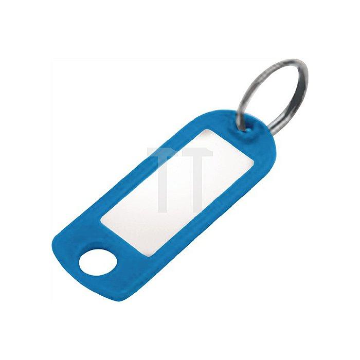 Schlüsselanhänger 8033 FS blau mit Aufhängeöse und Ring blau