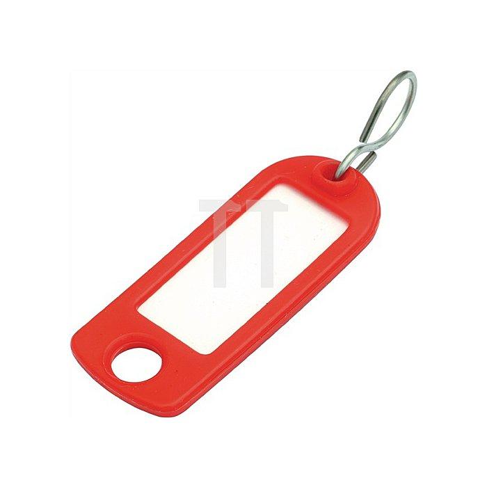 Schlüsselanhänger aus Weichplastik mit S-Haken rot mit Beschriftungsstreifen