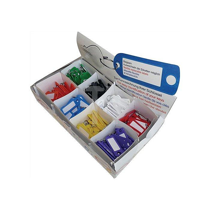 Schlüsselanhänger a.Weichplastik m.S-Haken Leuchtfarben m.Beschriftungsstreifen