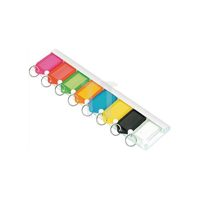 Schlüsselleiste 8160L8 gelb mit 8 Anhängern gelb zum Ankleben oder -schrauben