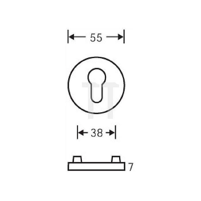 Schlüsselrosette 1735 Bad D. 55mm VA matt ER 6204 flache Ausführung