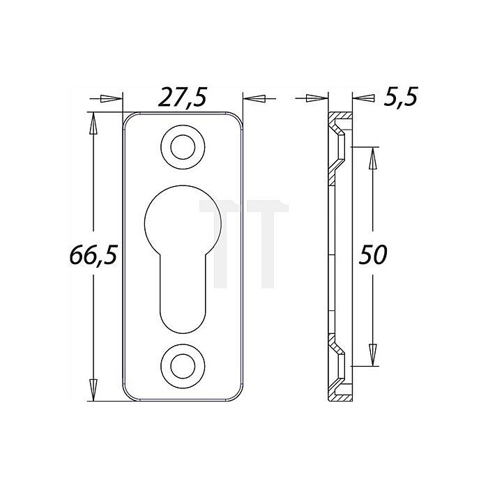 Schlüsselrosette f.Rahmentüren H.67mm B.30mm Kanten rd. Alu F1 naturfarbig