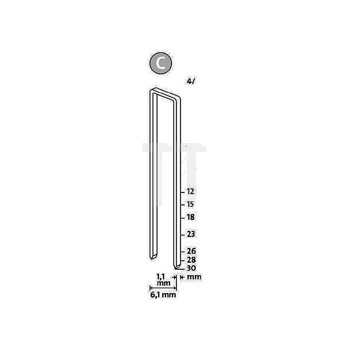Schmalrückenklammer Typ 4 L.30 x B.6mm verz. Novus