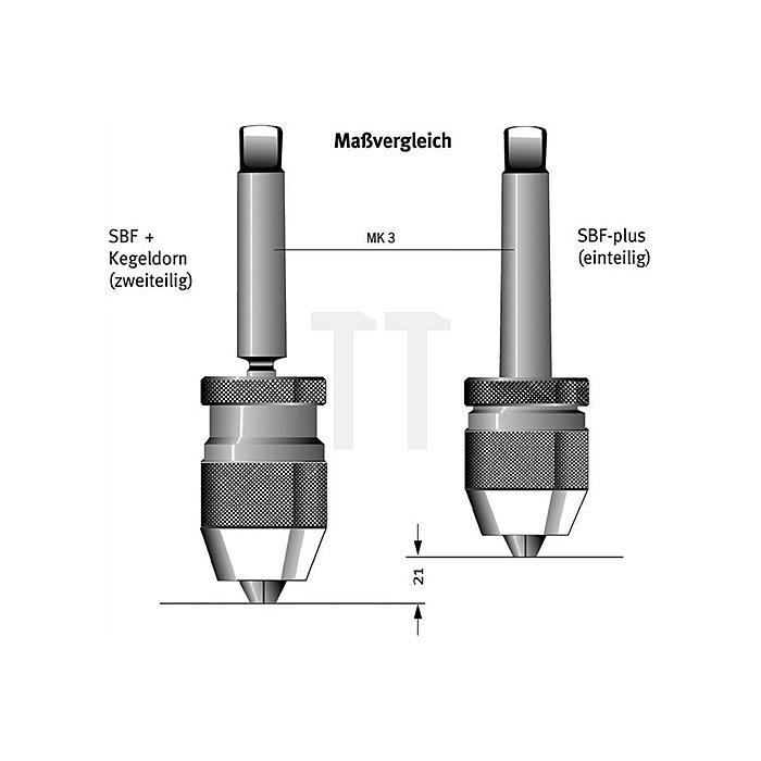 Schnellspannbohrfutter SBF-plus Spann-W.0,5-6,5mm MK2 f. Rechtslauf