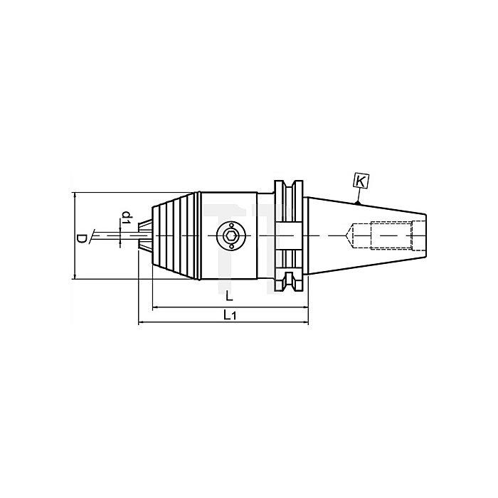 Schnellspannbohrfutter Spann-D.0,3-8mm DIN69871-A SK40 f.Rechts-/Linkslauf