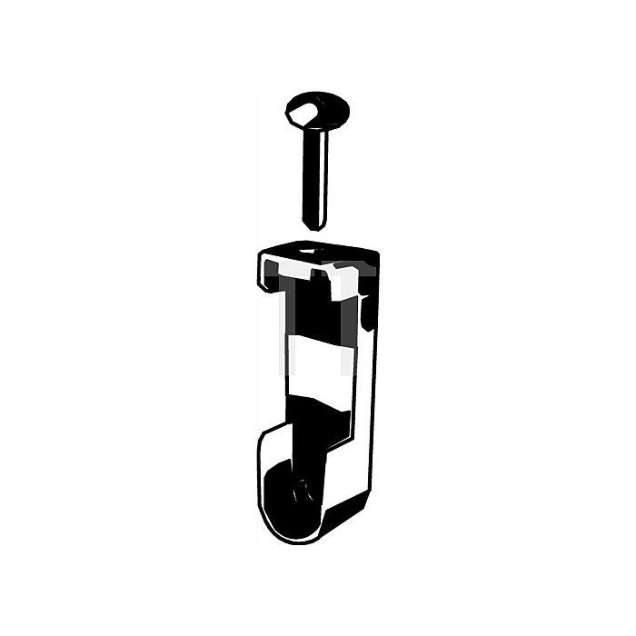 Schrankrohrlager Zinkdruckguss f.Ovalrohr B.15mm H.30mm verchromt f.Wand/Decke
