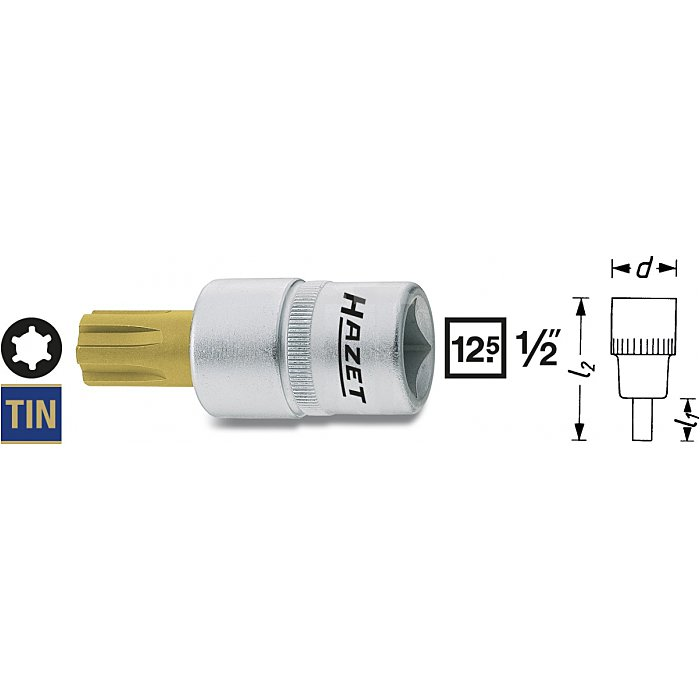 Hazet Schraubendreher-Steckschlüssel-Einsatz M: 16 Innen-Vierkant 12,5mm (1/2 Zoll) Innen Keilprofil Ribe-CV 991-16