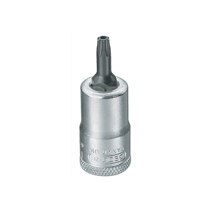 Schraubendrehereinsatz 3/8Zoll TX4,43mm Chrom brün.m.Bohrung Sonderstahl