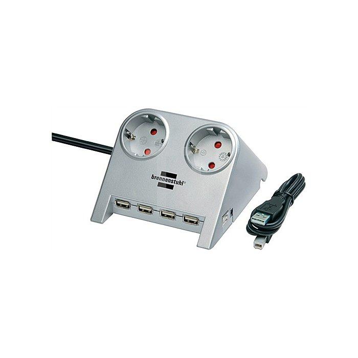 Schreibtischsteckdose 2 x 230V Schuko-Steckd. 4 USB Anschl.m.1,8m H05VV-F 3G1,5