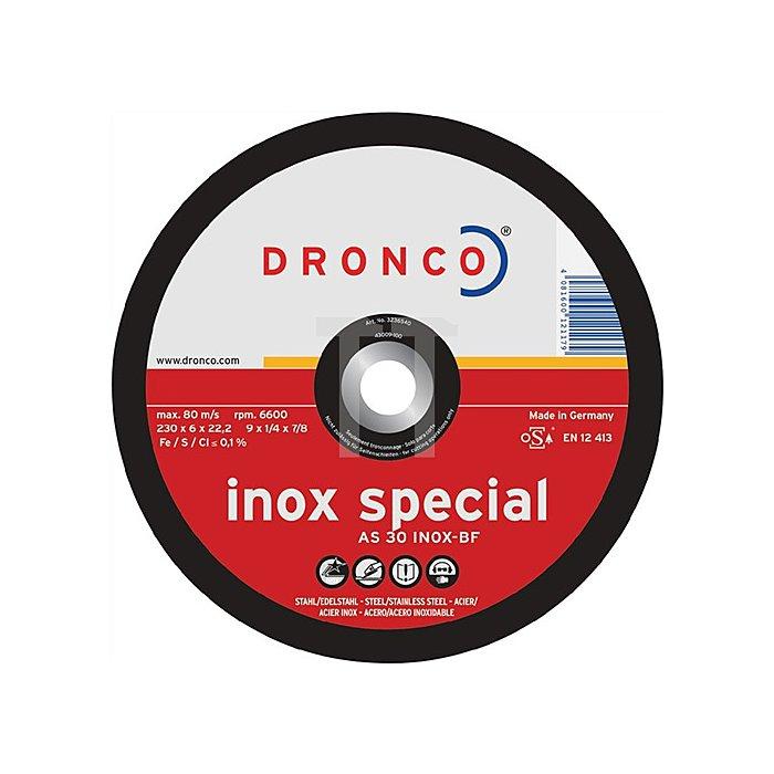 Schruppscheibe AS30SINOX 125x6,0x22,23mm gekröpft